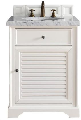 "James Martin Savannah Collection 238-104-V26-CWH- 26"" Cottage White Single Vanity with One Soft Close Door, One Soft Close Drawer, Antique Pewter Hardware and"
