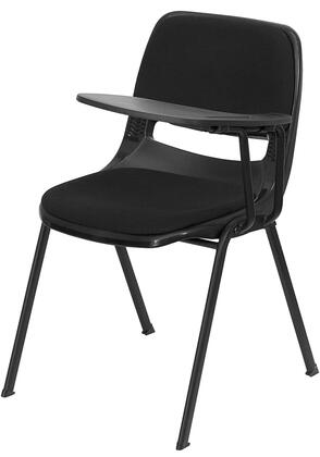 """Flash Furniture RUT-EO1-01-PAD-XTAB-GG 17.375"""" Padded Ergonomic Shell Chair with Handed Flip-Up Tablet Arm, 880 lb Load Capacity, and Dual Steel Cross Braces Provide Extra Support in Black"""