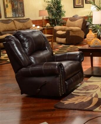 "Catnapper Livingston Collection 41"" Glider Recliner with Bombay Arms, Pub Back Design, Top Stitch Sewing and Top Grain Leather Touch/Match Upholstery"