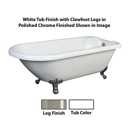 "Barclay ATR70I Beaumont 70"" Acrylic Roll Top Clawfoot Tub, with White Tub Finish, Overflow, Imperial Clawfoot Design, ,with Clawfoot Finish in"