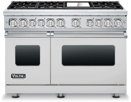 """Viking VDR7486GXXLP 48"""" Professional 7 Series Liquid Propane Dual Fuel Range with 6 Sealed Burners, Ceramic Non-Stic Griddle, SureSpark Ignition System, Infrared Broiler VariSimmer Setting, in"""