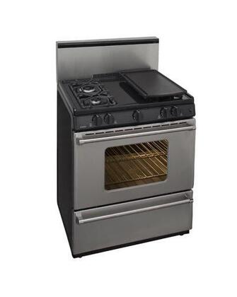 "Premier P30S3282P 30"" Pro Series Gas Freestanding Range with Sealed Burner Cooktop, Broiler in Stainless Steel"