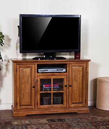 "Sunny Designs 3474RB-X Sedona X"" TV Console with Three Door Cabinet, One Glass Door, Three Storage Shelves, in Rustic Oak Finish"
