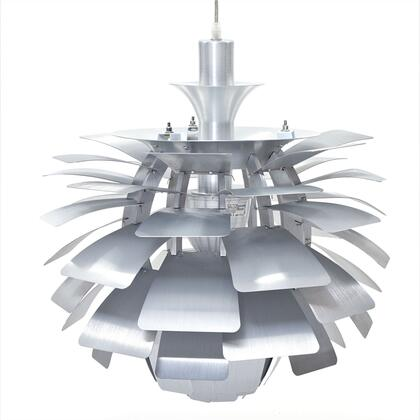 """Modway EEI-507 24"""" Petal Chandelier with Modern Design, Brushed Aluminum Petals, Hidden Light Source, and Glare Free Light Diffusion"""
