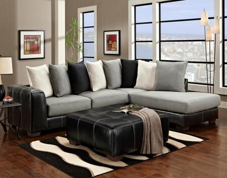 Chelsea Home Furniture 6350-SEC Landon 2 PC Sectional with Left Arm Facing Sofa, Right Arm Facing Chaise and Fabric Upholstery in