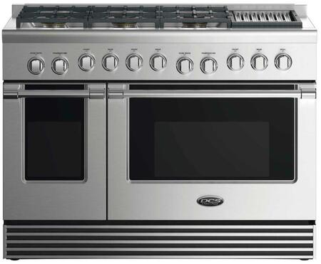 "DCS RDV2486GL 48"" Dual Fuel Range with 6 Sealed Dual Flow Burners, Grill, 4.8 Cu. Ft. Main Oven Capacity, 2 Cu. Ft. Secondary Oven Capacity, 5 Shelf Positions, and 6 Oven Functions: Stainless Steel"