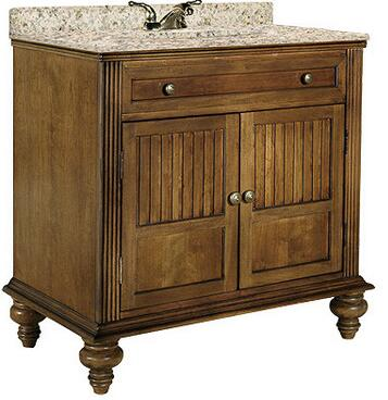 """Kaco Barbados Collection 320-3000 30"""" Single Sink Vanity with 2 Doors, Fluted Pilasters and Water Resistant Brown Cherry Finish with x Granite Top"""