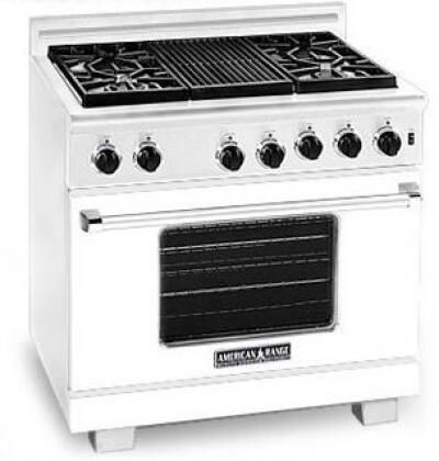 American Range ARR364GRLW Heritage Classic Series Liquid Propane Freestanding Range with Sealed Burner Cooktop, 5.6 cu. ft. Primary Oven Capacity, in White