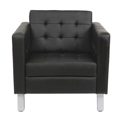 Rissanti 8180 Rissanti Pen Club Accent Chair with Bonded Leather Seat and Silver Coated Legs in