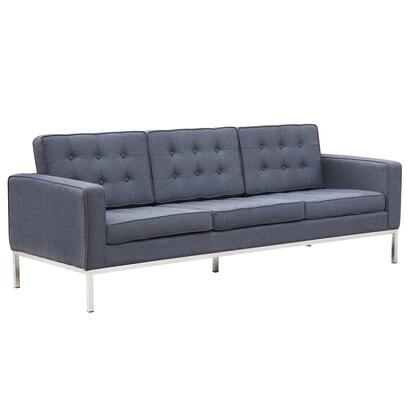 Fine Mod Imports FMI22143GRAY Button Series Transitional Wood Sofa