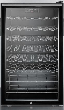 Summit SWC525L7XXADA Commercially Approved ADA Compliant Freestanding Glass Door Wine Cellar with 40 Bottles Capacity, 6 Wine Shelves, Automatic Defrost and Factory Installed Lock, in Black
