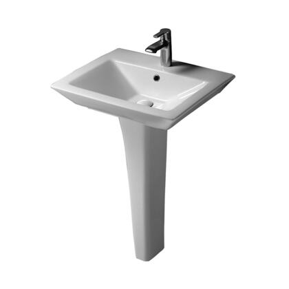 "Barclay 3-36WH Opulence Pedestal Lavatory, with Rectangular Bowl, 4.5"" Basin Depth, and Vitreous China Construction, in White"