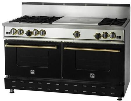 "BlueStar RNB606FTBSS 60"" Gas Freestanding Range with Open Burner Cooktop, 4.5 cu. ft. Primary Oven Capacity, in Black"