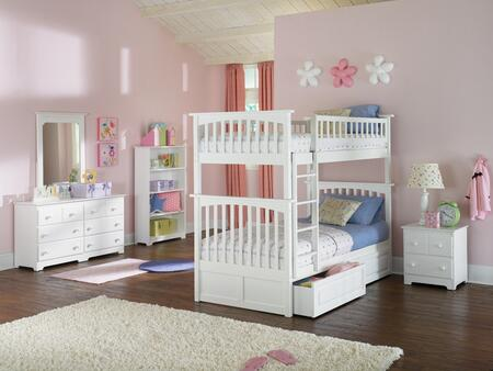 Atlantic Furniture YBBCOLUMBIATWINTWINWH Columbia Series  Twin Size Bunk Bed