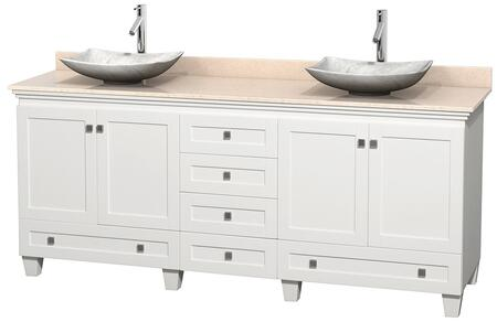 """Wyndham Collection Acclaim 80"""" Double Bathroom Vanity with 4 Doors, 6 Drawers, 3"""" Backsplash, Brushed Chrome Hardware, Ivory Marble Top and Arista White Carrera Marble Sinks in"""