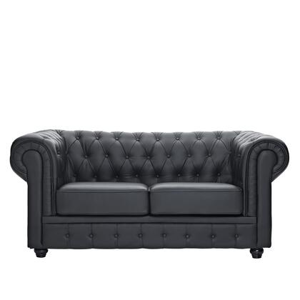 Modway EEI700BLK Chesterfield Series Bonded Leather Stationary with Metal Frame Loveseat