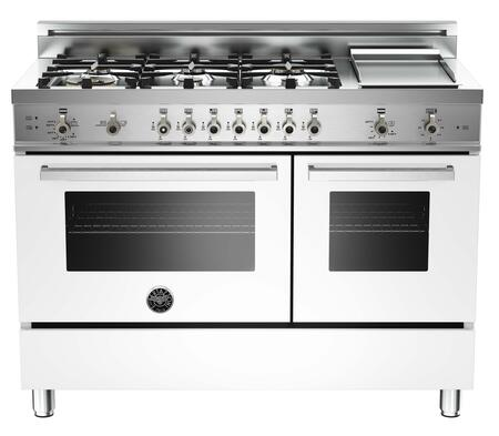 "Bertazzoni Professional PRO486GGAST 48"" Gas Range with 6 Brass Burners, 18,000 BTUs Dual-ring Power Burner, 3.6 cu. ft. Convection Oven, 2.2 cu. ft. Auxiliary Oven and Electric Griddle"
