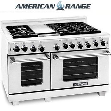 "American Range ARR4842GRISS 48"" Heritage Classic Series Gas Freestanding Range with Sealed Burner Cooktop, 4.8 cu. ft. Primary Oven Capacity, in Stainless Steel"
