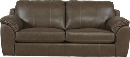 "Jackson Furniture Sullivan Collection 3188-03 94"" Sofa with Faux Leather Fabric Upholstery, Decorative Double Needle Luggage Stitching and Saddle Bag Arms in"