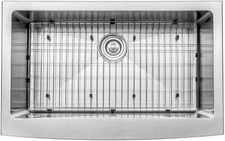 "Kraus KHF20033KPF1612KSD30 Precision Series 33"" Apron Front Single-Bowl Kitchen Sink with Stainless Steel Construction, NoiseDefend, and Included Pull-Down Kitchen Faucet"