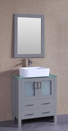 """Bosconi AGR130RCCWGX XX"""" Single Vanity with Clear Tempered Glass Top, Rectangle White Ceramic Vessel Sink, F-S02 Faucet, Mirror, 2 Doors and X Drawers in Grey"""
