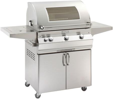 """FireMagic A660S5EAX62W Aurora 63"""" Cart with 30"""" Grill, E-Burners, Side Burner, Side Shelf, Magic View Window, Analog Thermometer, and Up to 75000 BTUs Heat Output, in Stainless Steel"""
