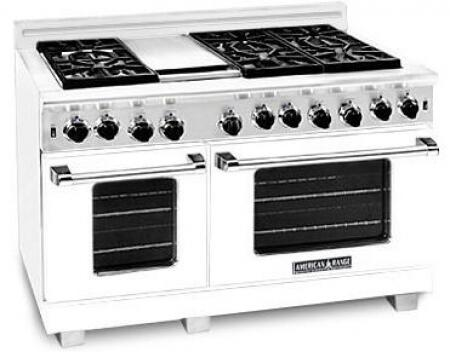 American Range ARR486GRLW Heritage Classic Series Liquid Propane Freestanding Range with Sealed Burner Cooktop, 4.8 cu. ft. Primary Oven Capacity, in White