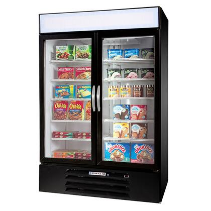 "Beverage-Air MMF44-1 MarketMax 47"" Two Section Glass Door Reach-In Merchandiser Freezer with LED Lighting, 45 cu.ft. Capacity, [Color] Exterior, [Electronic Lock] and Bottom Mounted Compressor"