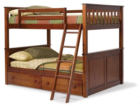 Chelsea Home Furniture 3652540X Full Over Full Mission Panel Bunk Bed, with Plantation-grown Pine, Rustic Style, and Hand Stained in Dark Finish