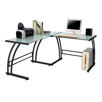 "LumiSource Gamma OFD-TM-BITDBL 70"" Desk with L-shaped Design, Tempered Glass Top and Metal Frame in"