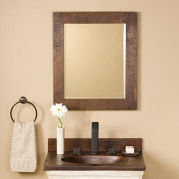 Native Trails CPM6 Sedona Rectangle Mirror with Beveled Edge Glass, Hand Hammered Copper, Horizontal or Vertical Mounting and Finished in Antique Copper