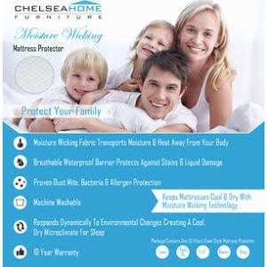 Chelsea Home Furniture 91XXXX-MW-X X Moisture Wicking Machine Washable Mattress Protector for Transporting Moisture and Heat Away from Body, Protection Against Stains with Waterproof Barrier in White