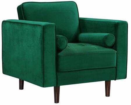 "Meridian Emily Collection 37"" Chair with Velvet Upholstery, Deep Tufted Cushion and Tapered Wooden Legs in"