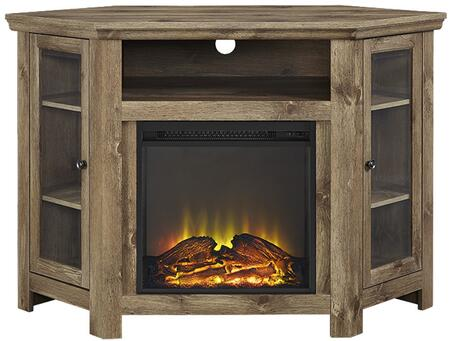 "Walker Edison W48FPCRXX 48"" Wood Corner Fireplace Media TV Stand Console with Double Doors and Electric Fireplace in"