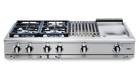 "Capital GRT484QGL 48"" Precision Series Stainless Steel Liquid Propane Sealed Burner Style Cooktop"