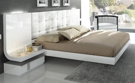 ESF Granada Collection i112KQBED Bed with Wooden Slat Frame in White