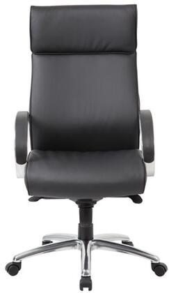 "Boss B7712 45"" High-Back Executive Chair with Knee Tilt Mechanism, Pneumatic Gas Lift Seat Height Adjustment, and Adjustable Tilt Tension Control in Black CaressoftPlus Upholstery"