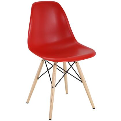 Modway EEI180RED Pyramid Series Modern Not Upholstered Wood Frame Dining Room Chair