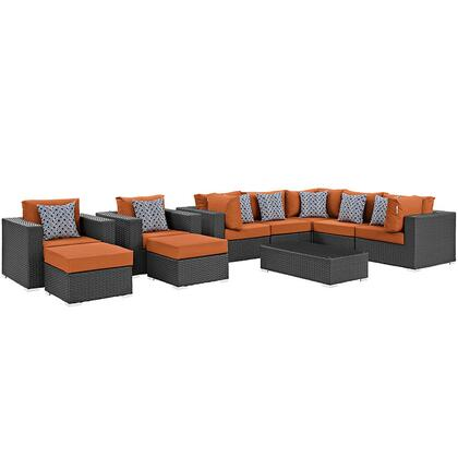 Modway Sojourn Collection EEI-2383-CHC- 10-Piece Outdoor Patio Sunbrella Sectional Set with Coffee Table, 3 Armless Chairs, 2 Armchairs, 2 Corner Sections and 2 Ottomans in