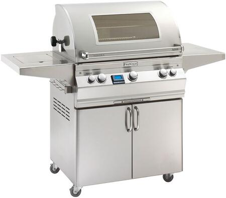 """FireMagic A660S6E1X62W Aurora 63"""" Cart with 30"""" Grill, E-Burners, Side Shelf, Side Burner, Backburner, Magic View Window, Digital Thermometer, and Up to 75000 BTUs Heat Output, in Stainless Steel"""