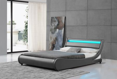 """Ladeso Edison Collection SF-810-X-G 91"""" Bed with LED Lights on Headboard, Low Profile, Panel Headboard and Leatherette Upholstery in Grey"""