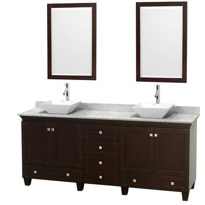 "Wyndham Collection Acclaim 80"" Double Bathroom Vanity with 4 Doors, 6 Drawers, 2 Mirrors, Brushed Chrome Hardware, White Carrera Marble Top and Pyra White Porcelain Sinks in"