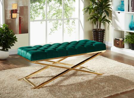 "Meridian Leo Collection 116X 48"" Bench with Velvet Upholstery, Tufted Seat Cushion, Stainless Steel and Contemporary Style in"
