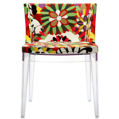"Modway EEI-553 18.5"" Flower Dining Chair with Modern Design, Multi-Hued Print Fabric Upholstery, Firm High-Density Foam Cushioning, and Acrylic Legs"