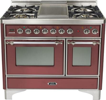 Ilve UMTD100SMPRB Majestic Techno Series Dual Fuel Freestanding Range with Sealed Burner Cooktop, 2.44 cu. ft. Primary Oven Capacity, Warming in Burgundy Red