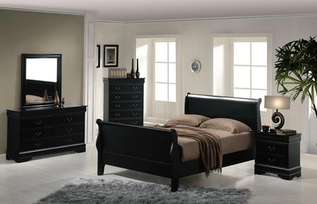 Acme Furniture 00424ACK Louis Philippe Series  Sleigh Bed