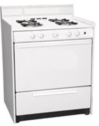 "Summit WNM2107 30""  White Gas Freestanding Range with Open Burner Cooktop, 3.69 cu. ft. Primary Oven Capacity, Broiler"
