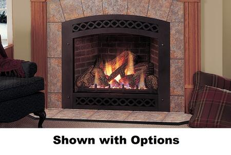 Majestic Lexington Convertible Direct Vent Fireplace with Flush Face Design, LexFire Burner, Ceramic Glass, Logs, Safety Barrier and Millivolt Ignition System
