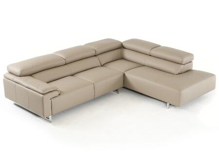 VIG Furniture VGFTCAREZZABRN F & T Salotti Carezza Series Sofa and Chaise Leather Sofa