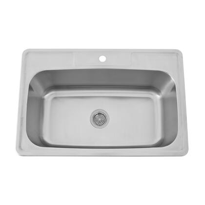 "Barclay KSSSB211 Elliot Collection 33"" Stainless Steel Single Well Drop-In Sink:"